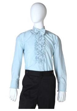 Blue Ruffled Tuxedo Shirt