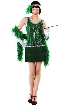Sequin & Fringe Green Flapper Costume Plus