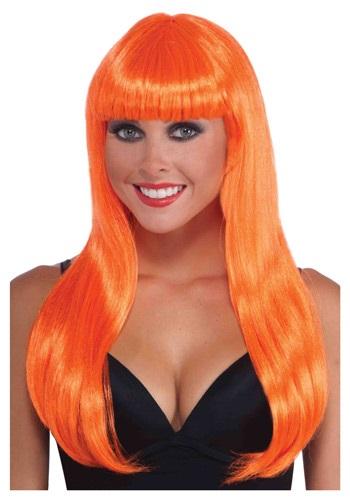 Neon Orange Long Wig