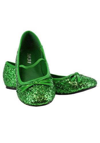 Girls Green Glitter Ballet Flats