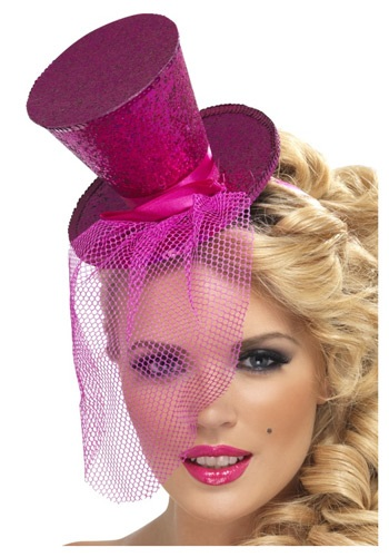 Fever Hot Pink Glitter Mini Top Hat
