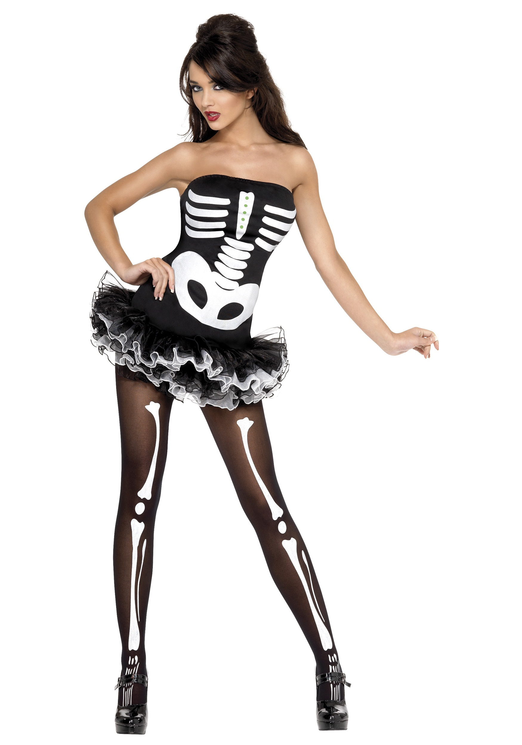 Ladies Skeleton Dress X Ray Skeleton Tube Dress Halloween Fancy Dress Costume
