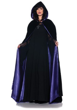 Deluxe Velvet and Purple Satin Long Cape