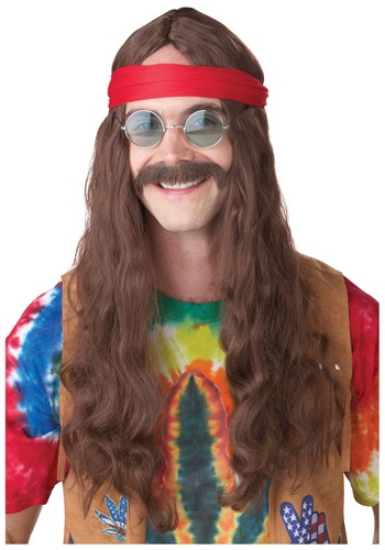 Hippie Man Wig and Mustache