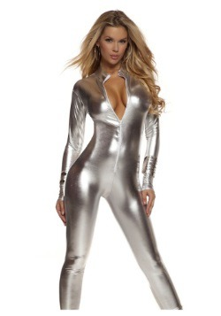 Womens Solid Silver Mock Neck Jumpsuit