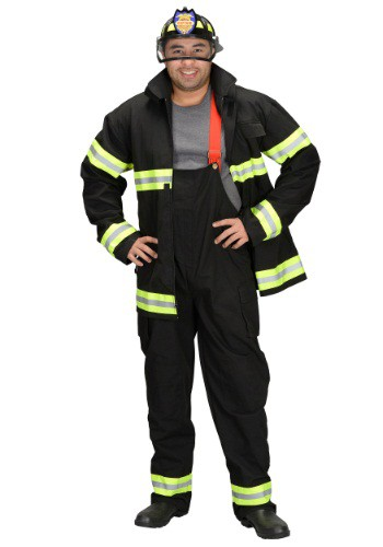 Adult Black Fireman Costume w/ Helmet