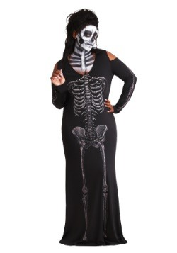 Women's Plus Size Bone Appetit Skeleton Long Dress Costume