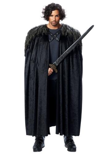 Medieval Fur Trimmed Black Cape