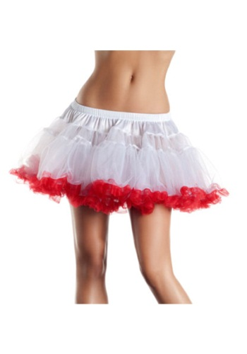"12"" White and Red 2-Layer Petticoat"