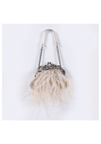 Cream Feather Bag with Chain