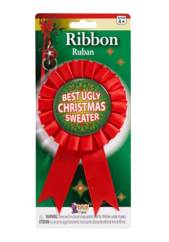 Ugliest Christmas Sweater Award Ribbon