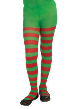 Child Red & Green Striped Tights