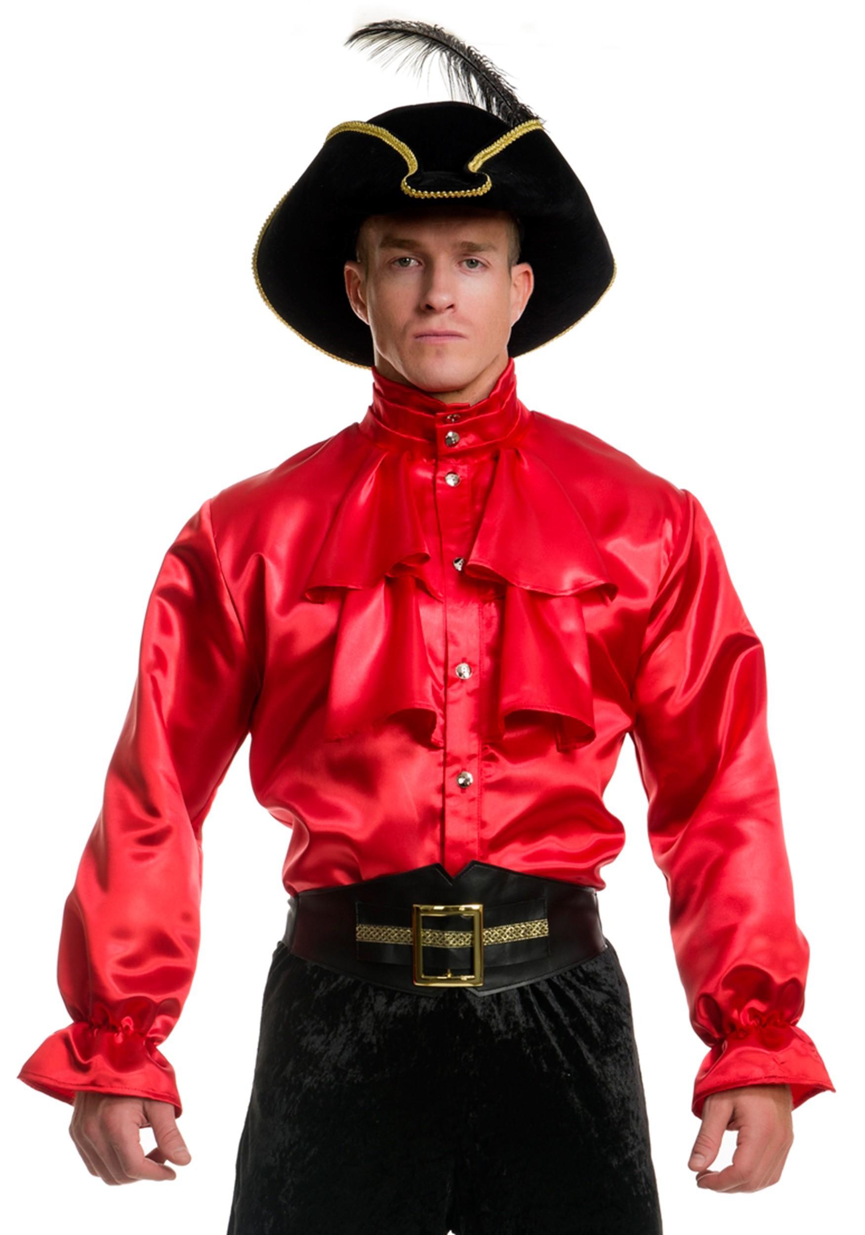 Men 39 S Red Satin Ruffle Shirt