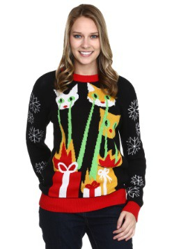 Laser Cat-zillas Ugly Christmas Sweater