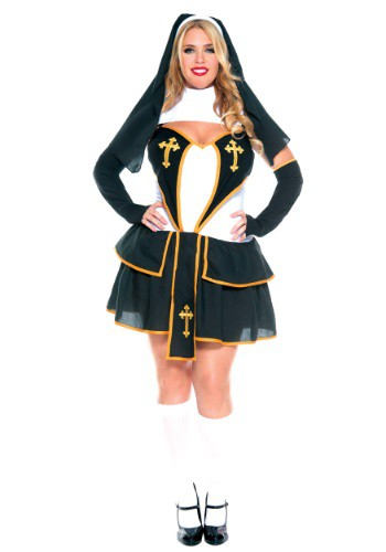 Women's Plus Size Flirty Nun Costume