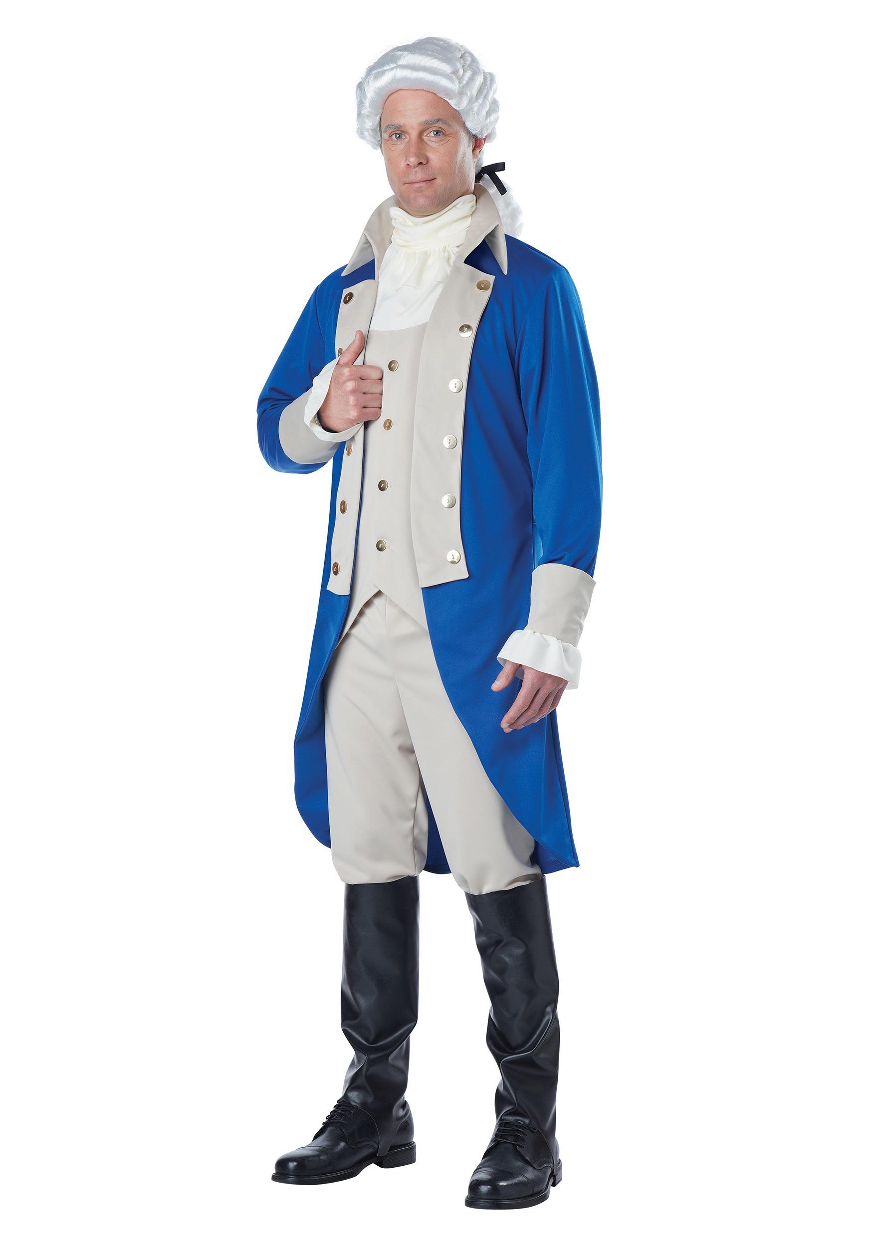 George Washington Costume Adult Colonial President Mens American Halloween NEW
