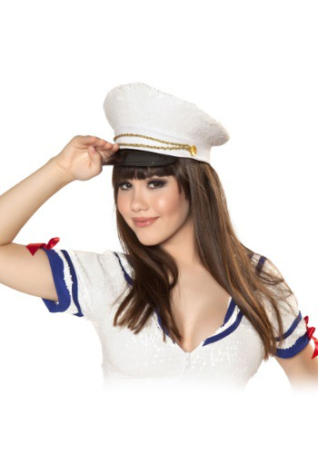 Sequined White Sailor Hat