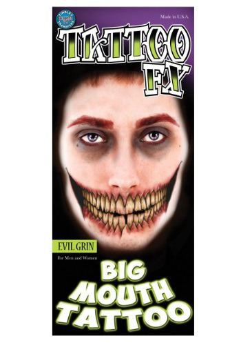 Evil Grin Temporary Big Mouth Tattoo