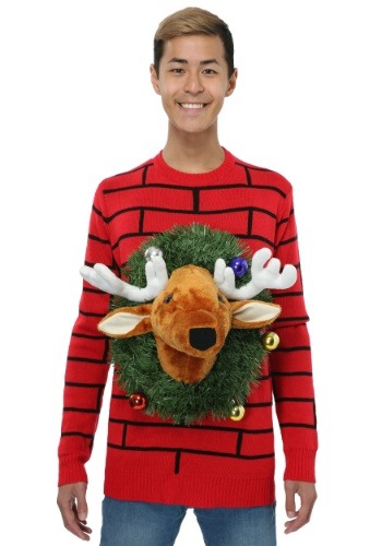 Reindeer Head Ugly Christmas Sweater