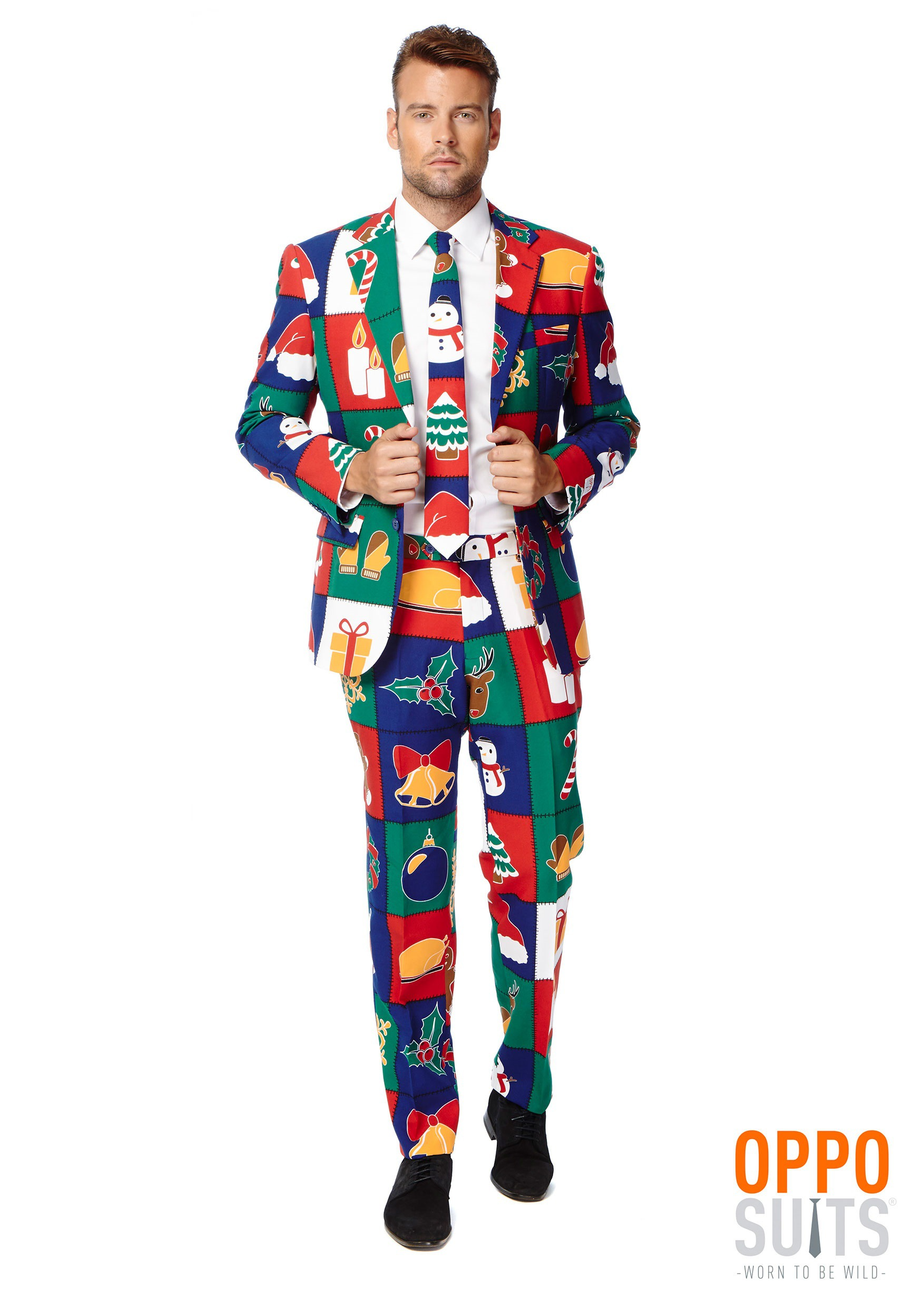 INOpets.com Anything for Pets Parents & Their Pets Men's OppoSuits Quilty Pleasure Holiday Suit Fancy Dress Costume