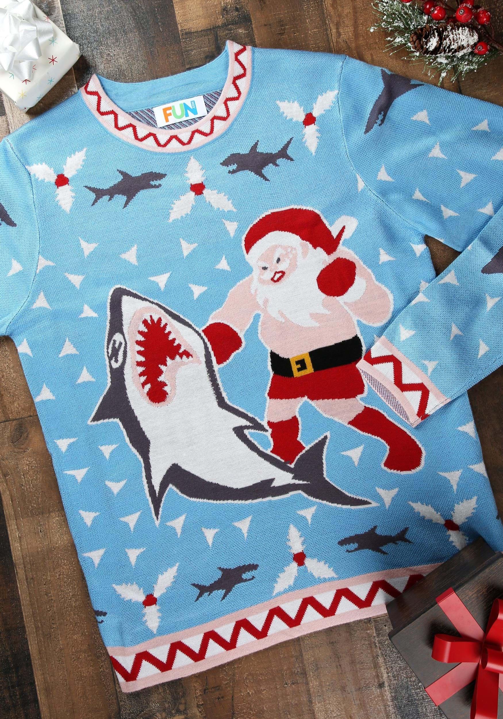 e5c680ef065 Men s Santa vs Shark Ugly Christmas Costume Sweater