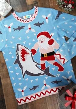Santa vs Shark Men's Christmas Sweater