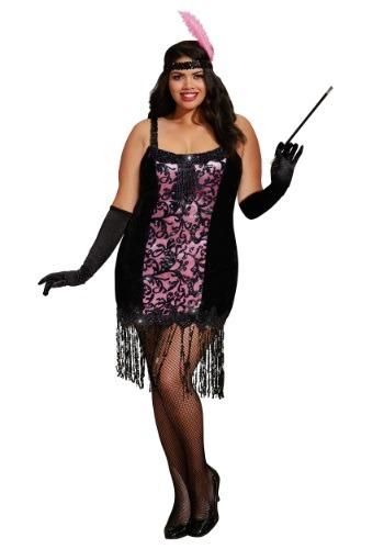 Plus Size Cotton Club Cutie Flapper Costume