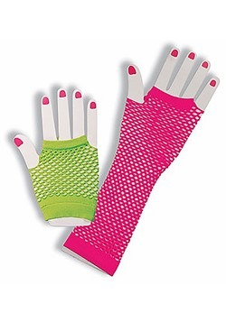 Neon Fishnet Fingerless Gloves