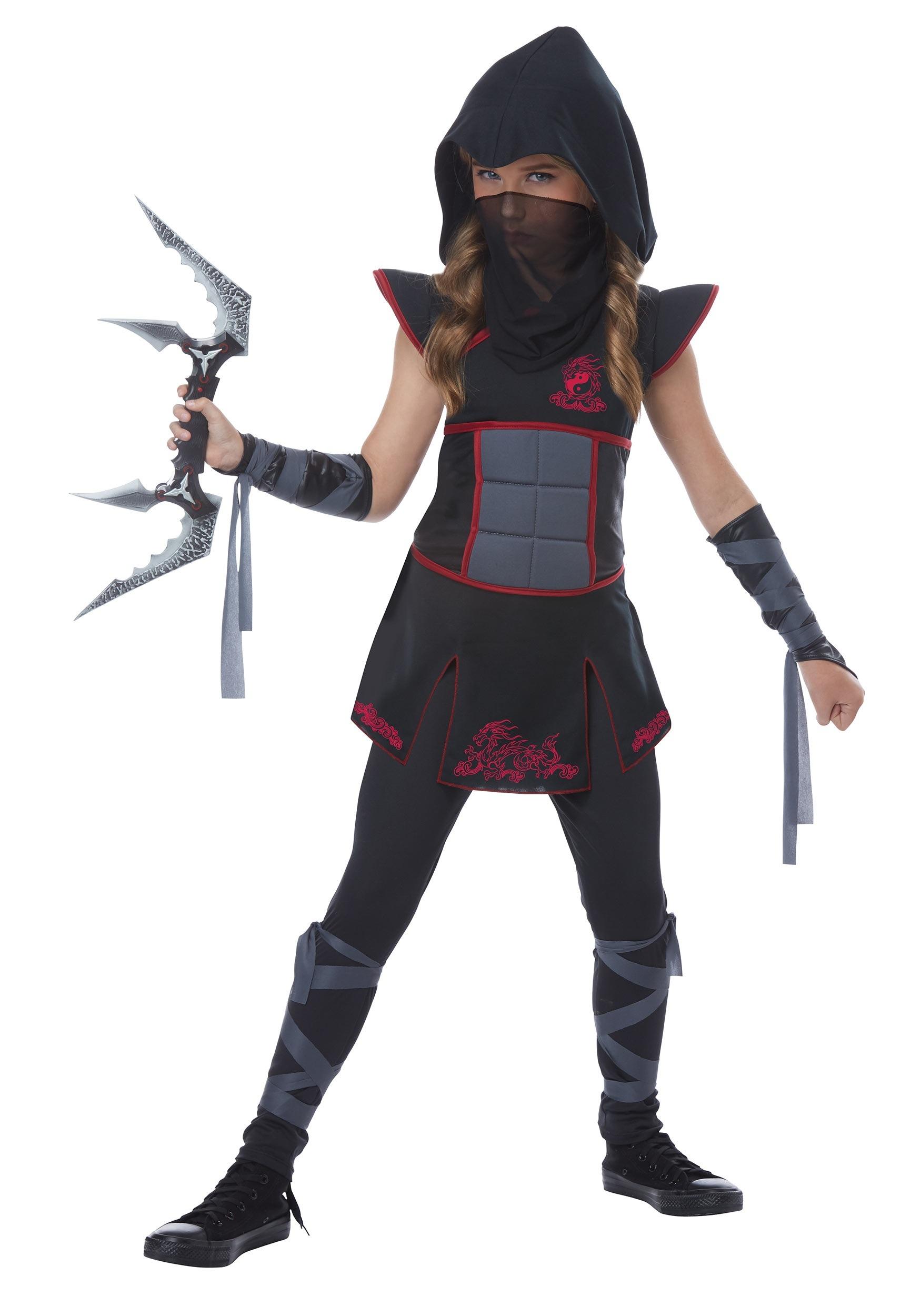 Black Ninja Fancy Dress Costume For Girls