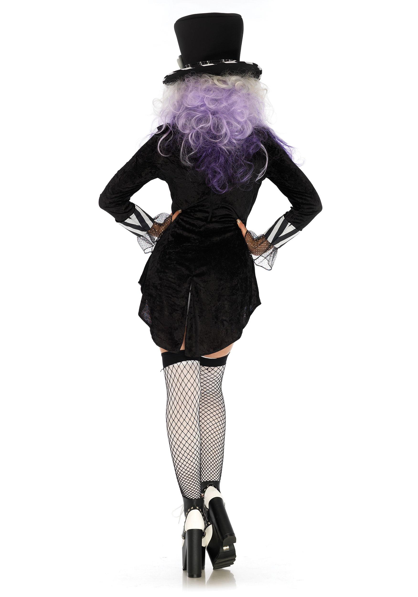 Womens Gothic Black Wonderland Mad Hatter Costume