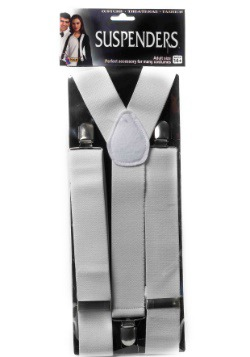 White Adult Suspenders