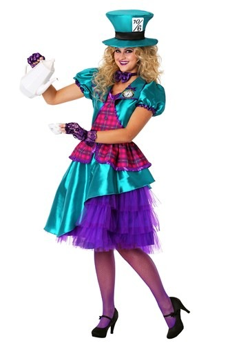 Women's Plus Size Teal Hatter Costume