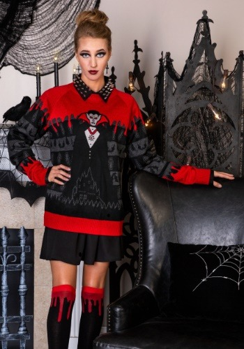 Dracula Vampire Ugly Halloween Adult Sweater main update1