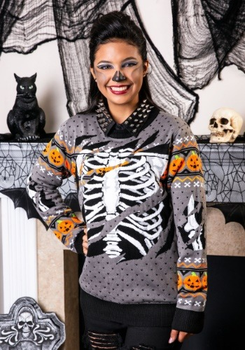 Ripped Open Skeleton Adult Ugly Halloween Sweater