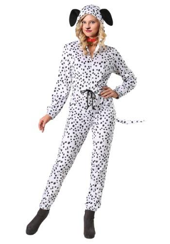 Women's Plus Cozy Dalmatian Jumpsuit Costume