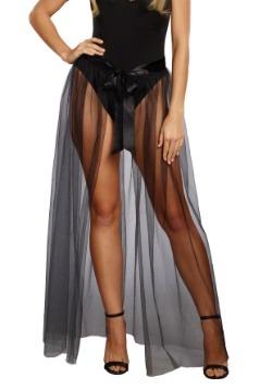 Women's Sheer Tie-Front Black Skirt