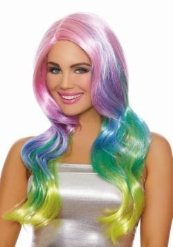 Long Wavy Rainbow Ombre Wig