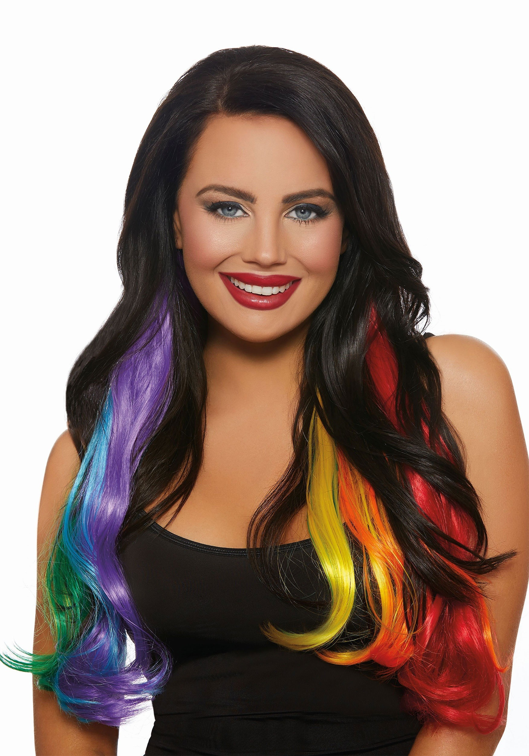 3 Piece Primary Rainbow Long Wavy Hair Extensions