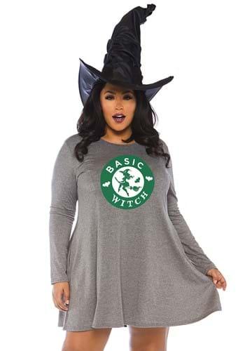 Plus Size Basic Witch Jersey Dress