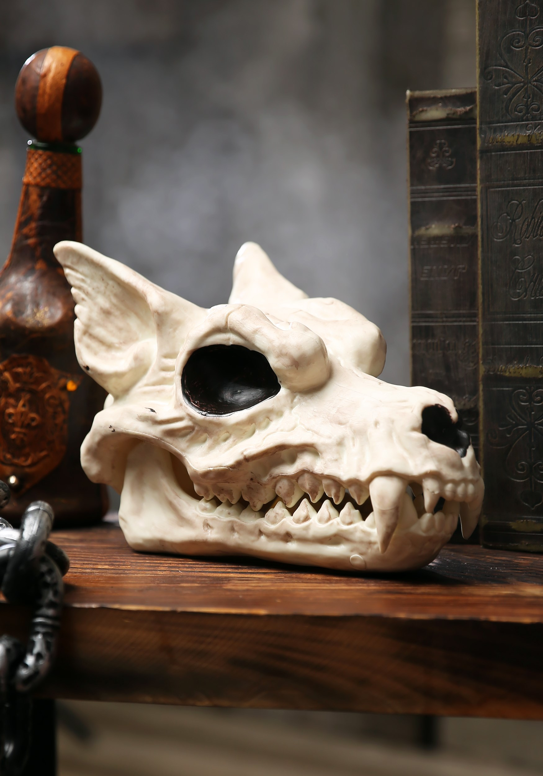 "INOpets.com Anything for Pets Parents & Their Pets 7"" Wolf Skull Halloween Decor"