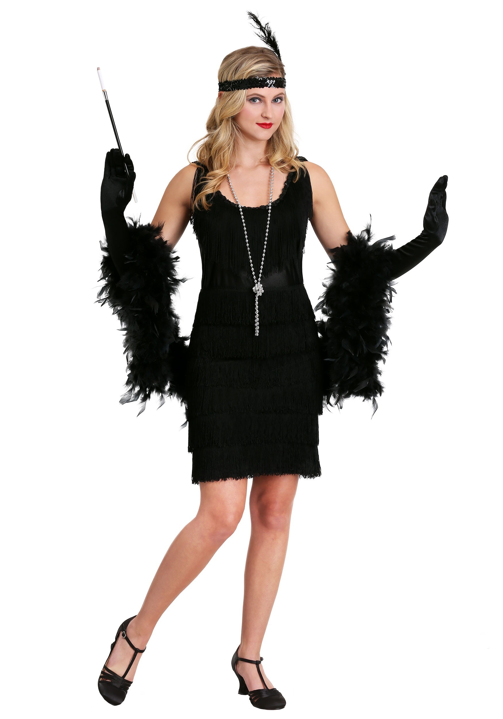 d0f206d82f4e7 Black Fringe 1920's Flapper Costume
