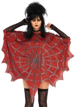 Red Glitter Web Poncho
