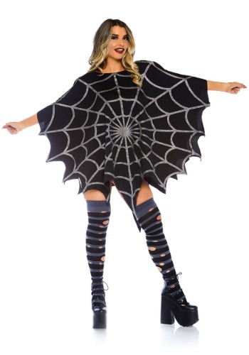 Black Glitter Web Poncho