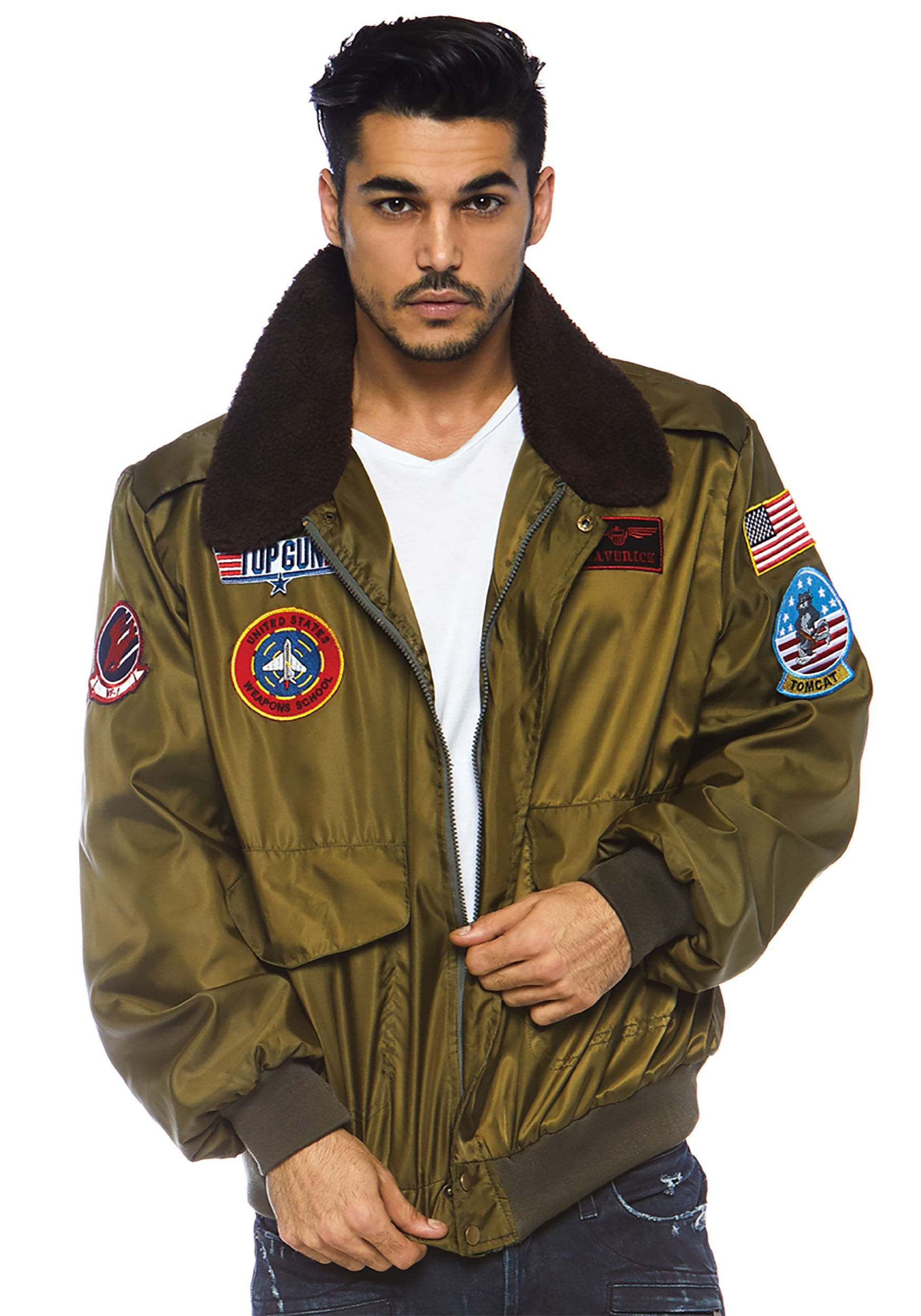 7a447b103 Top Gun Men's Nylon Bomber Jacket Costume