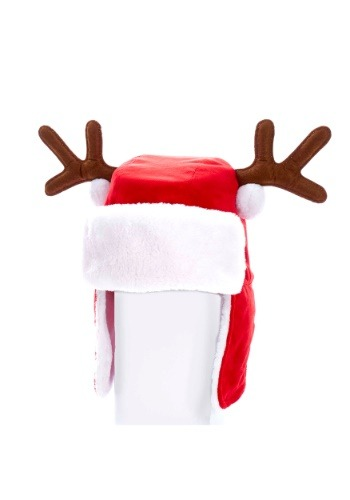 "12"" Plush Red Adult Christmas Hat w/ Antlers"