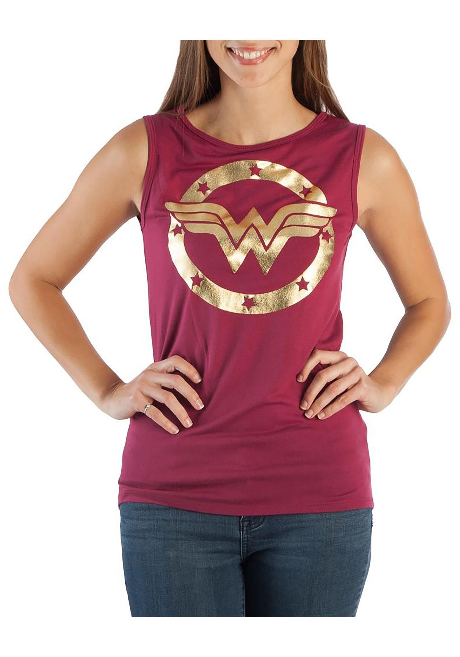 058709cbfb1fb DC Comics Wonder Woman Logo Hi-Lo Tank Top for Women