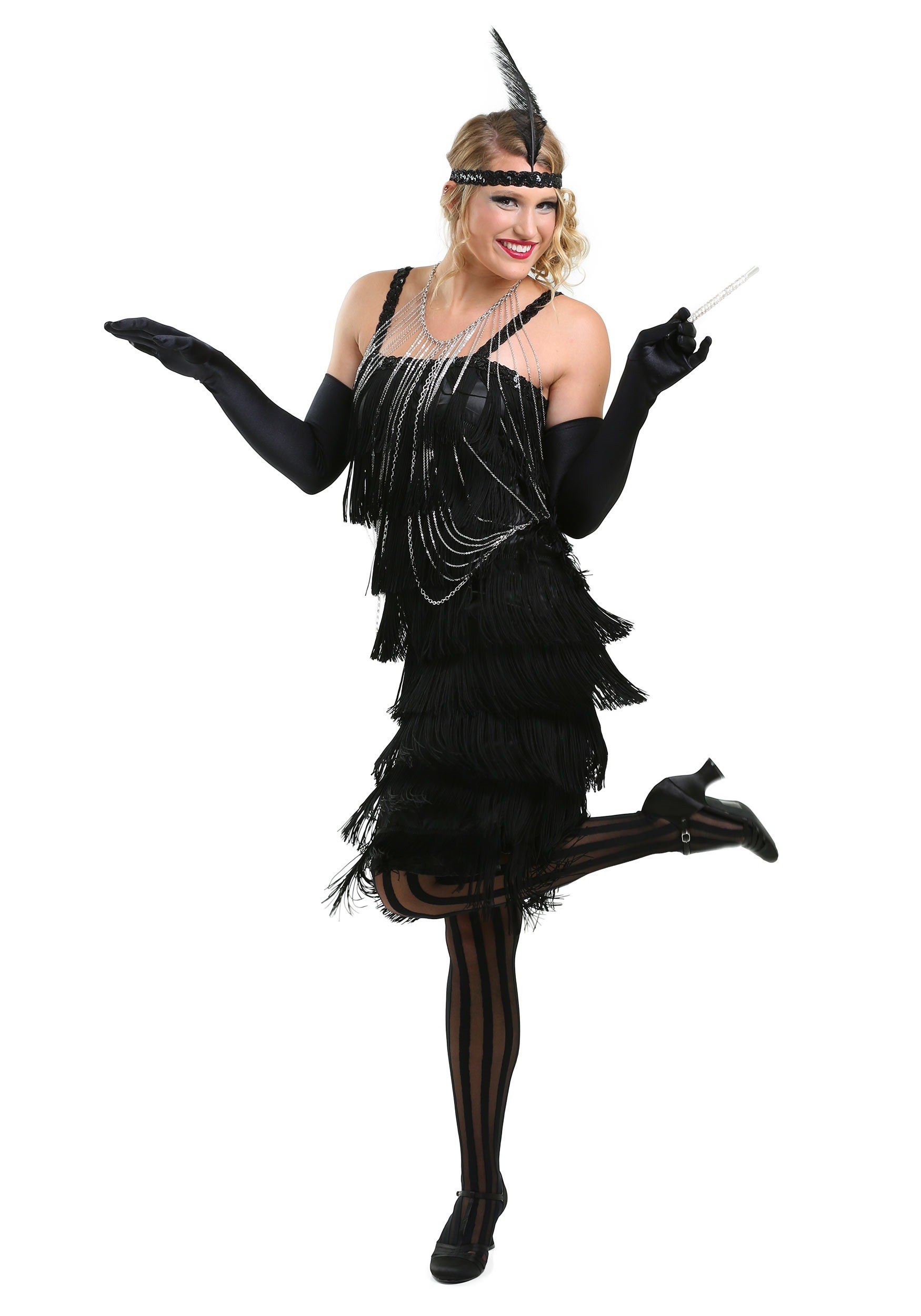 ba97025ed18a Black Charleston Flapper Costume Dress