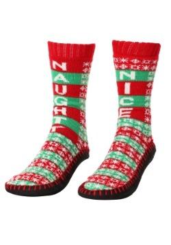 Naughty Nice Knit Christmas Slipper Socks