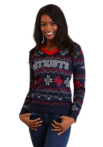 New England Patriots Women's Light Up V-Neck Sweater