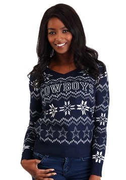 Dallas Cowboys Womens Light Up V-Neck Bluetooth Sweater